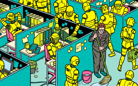 """Illustration by Norwegian cartoonist and illustrator, Kristian Hammerstad, from """"Rise of the Robots,"""" a New York Times Sunday Book Review article, May 11, 2015."""