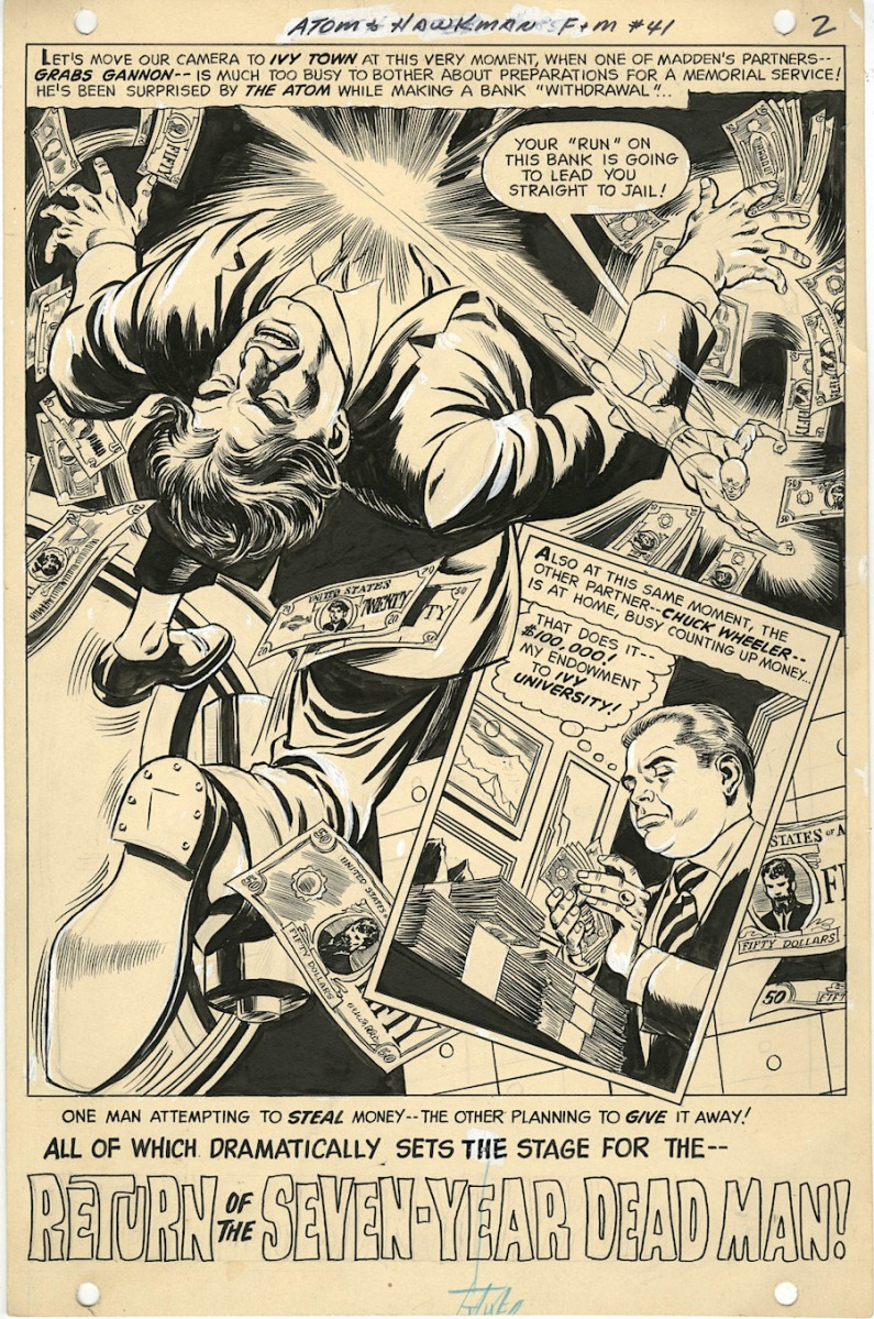 Original Splash Page by Dick Dillin (pencils) and Sid Greene (inks) from 'Atom and Hawkman' #41, DC Comics, 1969