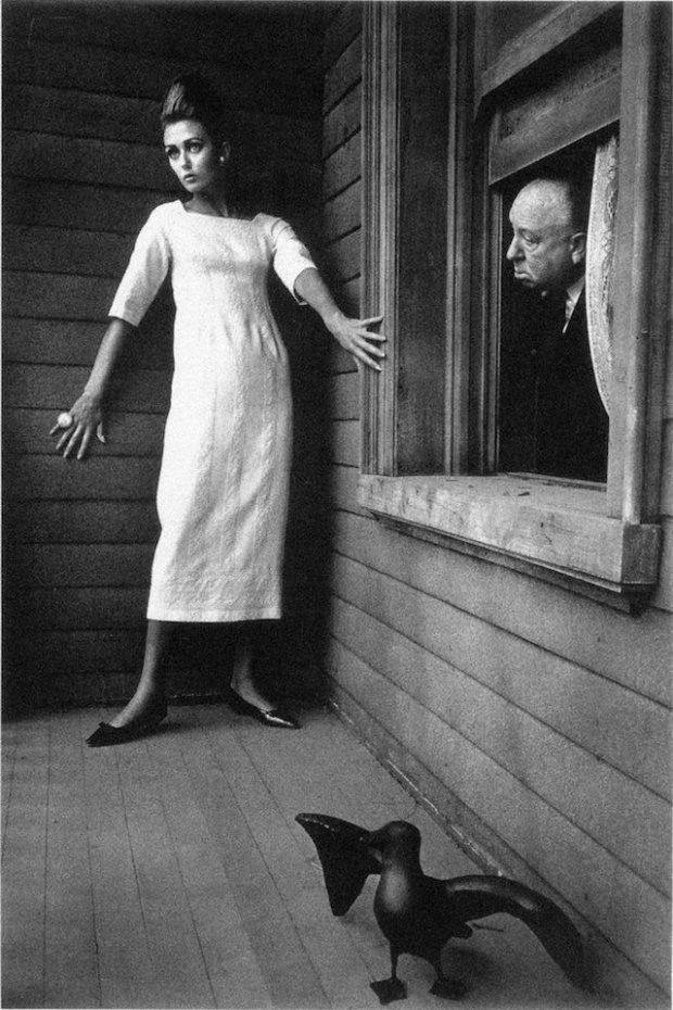 Alfred Hitchcock and  Ina on the set of  'Psycho', Harper's Bazaar, 1962.jpg