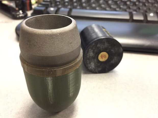 3D printed training grenade. Note plastic nose and aluminum sintered body. U.S. Army Acquisition Support Center