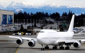 A Boeing 747-8 Intercontinental airliner, delivered to an undisclosed VIP customer, taxis before taking off at the Paine Field February 28, 2012 in Everett, Washington. Stephen Brashear/Getty Images