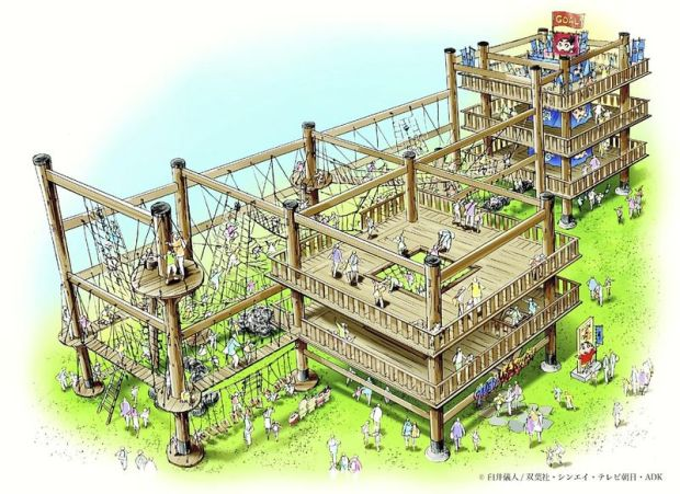 "A rendering for an athletic facility themed on ""Crayon Shinchan"" to be build at the Nijigen No Mori theme park"