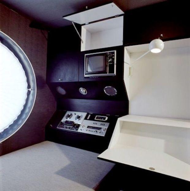 Space Age interior of Kurokawa Kisho's Nakagin Capsule Tower Tokyo Japan