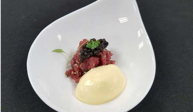Miyazaki Caviar 1983 with beef tartare. The caviar made its debut in the global market at the Four Seasons Hotel in Hong Kong on March 17, 2017