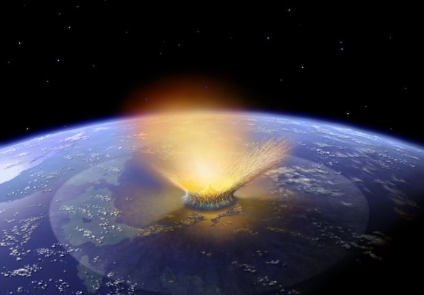 Artist's illustration depicting a massive asteroid impact on Earth. Credit: NASA/Don Davis