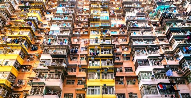 crowded apartment building in Hong Kong, China