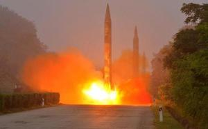 File photo of Ballistic rocket is seen launching during a drill by the Hwasong artillery units of the KPA Strategic Force in this undated picture provided by KCNA in Pyongyang on July 21, 2016. KCNA   Reuters