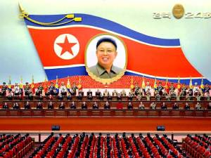 A general view shows an annual central report meeting in this undated photo released by North Korea's Korean Central News Agency (KCNA) in Pyongyang Sunday. | KCNA / VIA REUTERS