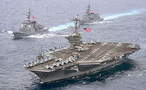The aircraft supercarrier is headed toward Korean Peninsula for an exercise with South Korea. (Mass Communication Specialist 2nd Class Sean M. Castellano/U.S. Navy via AP)