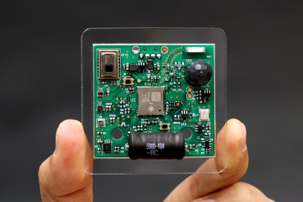 A sensing board the size of a Saltine can track motion, sound, pressure, humidity, temperature, light intensity, electromagnetic interference, and more.