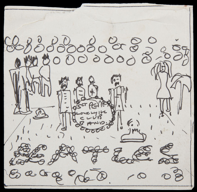 "The Associated Press This image released by Julien's Auctions shows the drawing of the ""Sgt. Pepper's Lonely Hearts Club"" album cover."