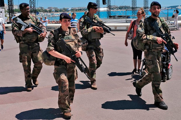 "French soldiers of the ""Operation Sentinelle"" patrol on the Croisette in Cannes, France. AFP / Getty Images"