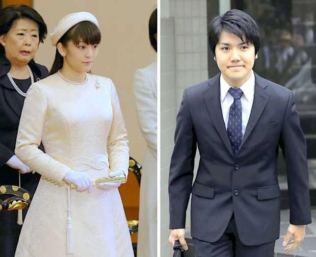 Yomiuri Shimbun photos Left: Princess Mako attends a ceremony of the Utakai Hajime (New Year Poetry Reading) in January. Right: Kei Komuro leaves his house in Kohoku Ward, Yokohama, on Wednesday morning.