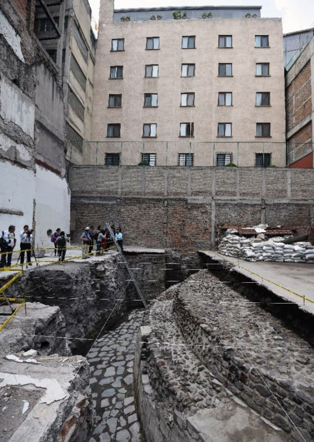 View of the archaeological site of the ancient Aztec temple of Ehecatl-Quetzalcoatl and ritual ball game recently discovered in downtown Mexico City on June 7, 2017 View of the archaeological site of the ancient Aztec temple of Ehecatl-Quetzalcoatl and ritual ball game recently discovered in downtown Mexico City on June 7, 2017 (AFP Photo/ALFREDO ESTRELLA)