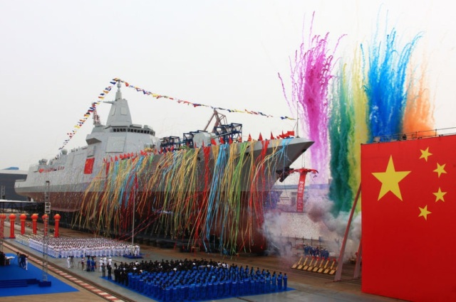 China's new domestically built destroyer is launched at Jiangnan Shipyard in Shanghai on Wednesday. Reuters