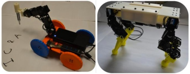 Two robots — robot calligrapher and puppy — produced using an interactive display tool and selecting off-the-shelf components and 3D-printed parts (credit: Carnegie Mellon University)