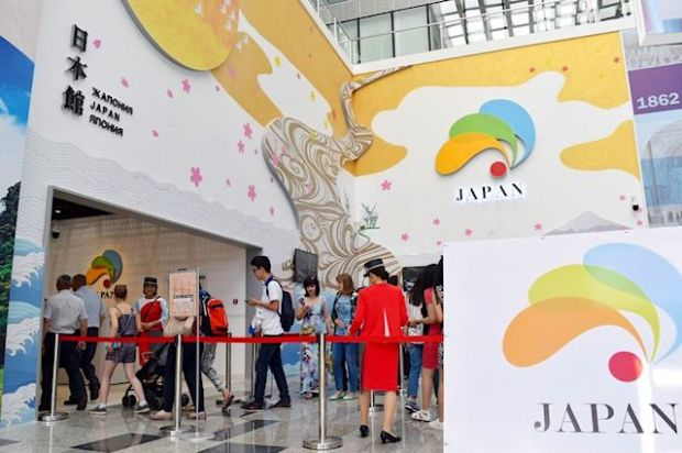 Jiji Press People visit the Japan pavilion at the World Exposition in Astana on Wednesday.
