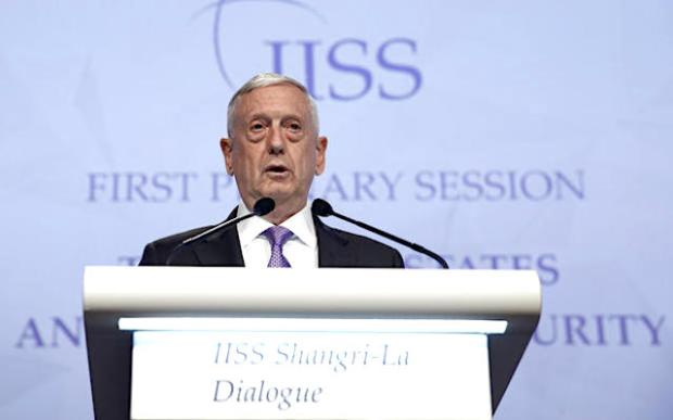 Secretary of Defense James Mattis speaks at the 16th IISS Shangri-La Dialogue in Singapore June 3, 2017. Edgar Su / Reuters