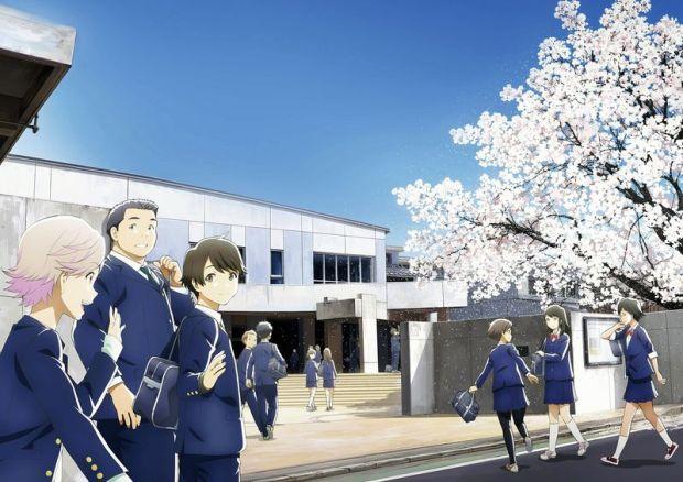 "©2017TsukigakireiFilmPartners Kotaro, third from left, and his school friends in a scene from ""Tsuki ga Kirei"""