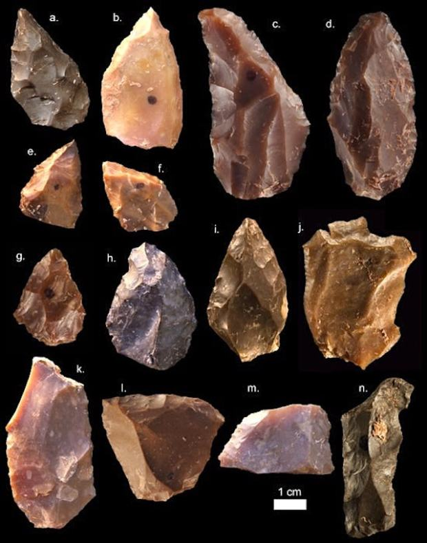 Many of these flint tools had been heated in the past, almost certainly while in use, which caused their crystalline structure to reset like an erased audio tape. Over the millennia, natural radiation introduced electrons, which were trapped in the crystal matrix. Using a technique called thermoluminescence dating, scientists were able to release the electrons by heating the tools again.