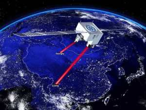 The Chiense satellite Micius has helped break the quantum teleportation distance record, transmitting entangled photons across a distance of 1,200 km (746 mi) (Credit: Jian-Wei Pan)