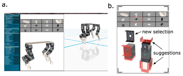 (a) The design interface consists of two workspaces. The left workspace allows for designing the robot. It displays a list of various modules at the top. The leftmost menu provides various functions that allow users to define preferences for the search process visualization and for physical simulation. The right workspace (showing the robot design on a plane) runs a physics simulation of the robot for testing. (b) When you select a new module from the modules list, the system automatically makes visual suggestions (shown in red) about possible connections for this module that are relevant to the current design. (credit: Carnegie Mellon University)