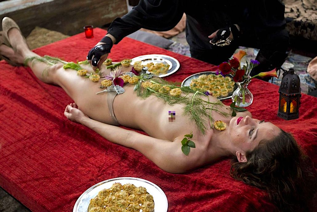 Naked body with food