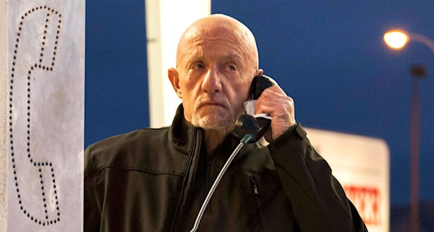 Mike (Jonathan Banks) phoned the cops after digging up some old information in a recent episode. Michele K. Short/AMC/Sony Pictures