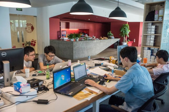 The Shanghai offices of Musical.ly, a Chinese start-up that chose to build its business abroad. Credit Gilles Sabrie for The New York Times