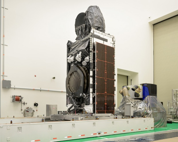 The Intelsat 35e satellite is pictured preparing for shipment from its Boeing factory in El Segundo, California, to Cape Canaveral for launch. Credit: Intelsat