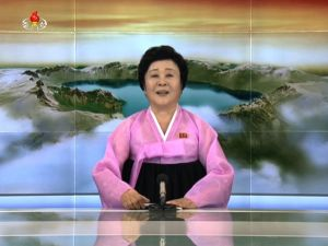 Pyongyang's favourite newsreader Ri Chun-Hee announces North Korea's possession of a hydrogen bomb (AFP Photo/Handout)