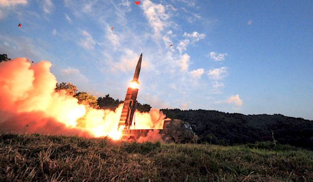 The South Korean Defense Ministry/AP South Korea's Hyunmoo II ballistic missile is fired during an exercise at an undisclosed location in South Korea on Monday.
